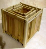 Click to enlarge image  - Medium Square Cedar Planter Box WRC - 15 inch x 15 1/2 inch x 10 1/4 inch